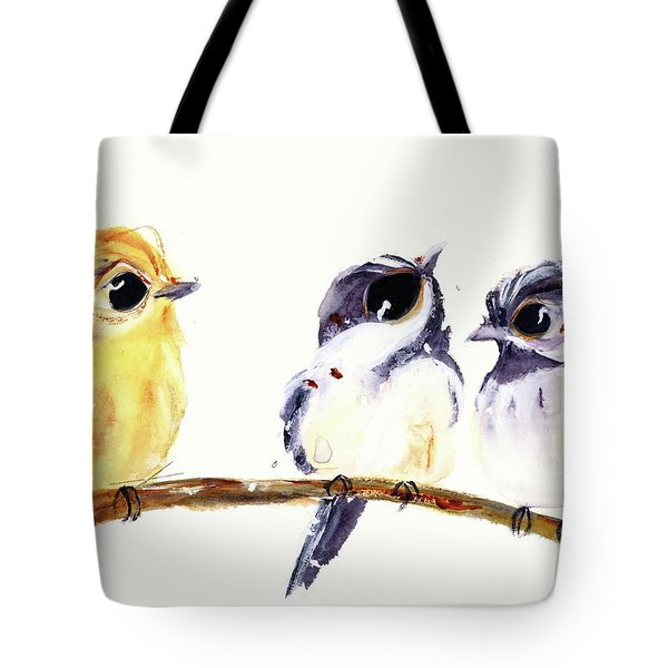 Tote Bag featuring the painting 3 Birds On A Branch by Dawn Derman