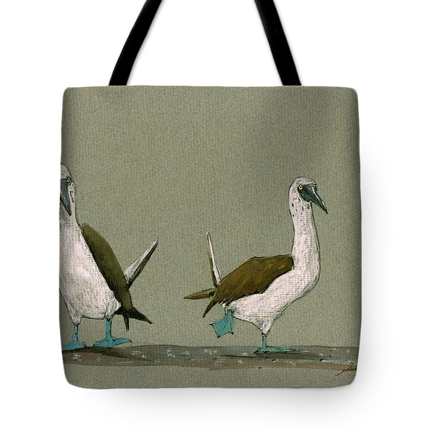 Blue Footed Boobies Tote Bag by Juan  Bosco