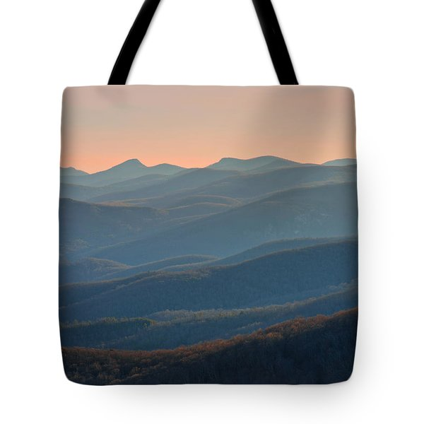 Tote Bag featuring the photograph Blue Ridge Mountains Sunset  by Ray Devlin