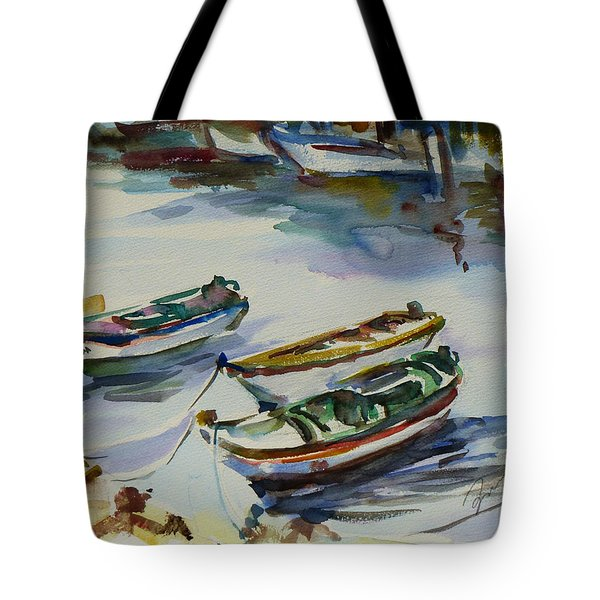 Tote Bag featuring the painting 3 Boats I by Xueling Zou