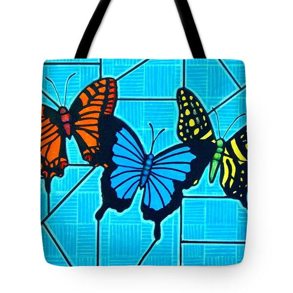 3  Butterflies On Blue Tote Bag