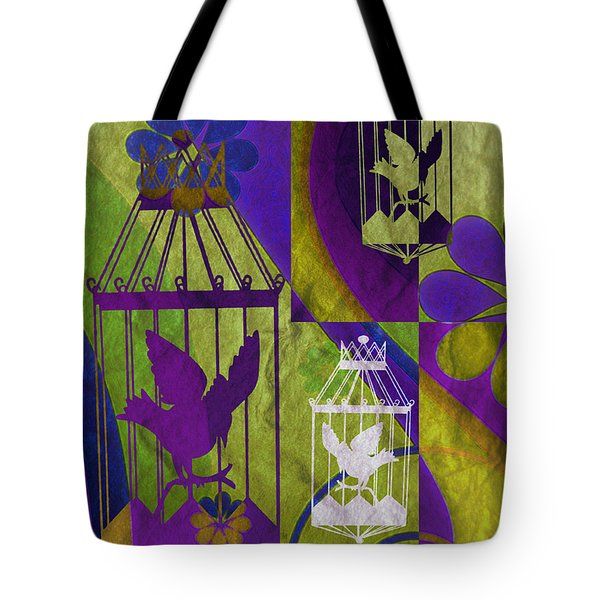 3 Caged Birds Tote Bag