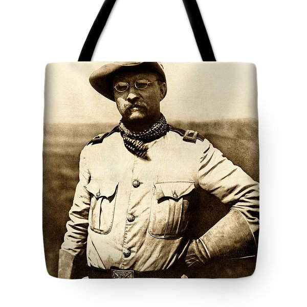 Tote Bag featuring the photograph Colonel Theodore Roosevelt by War Is Hell Store