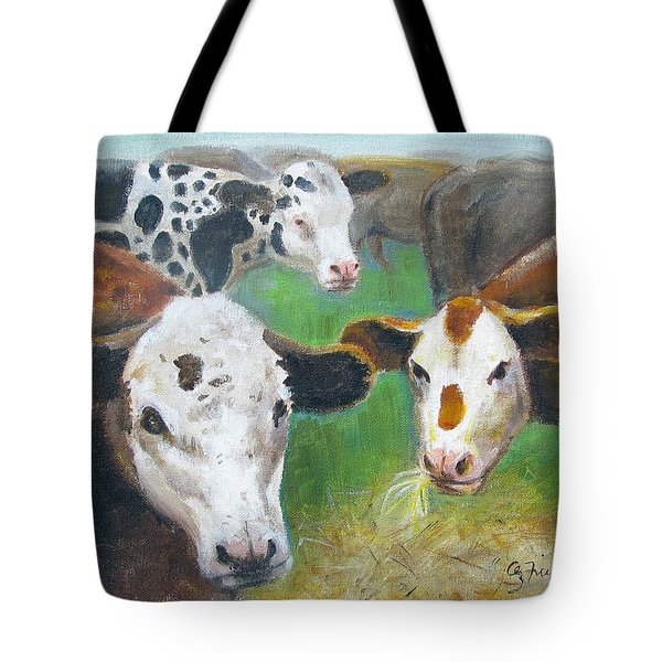 Tote Bag featuring the painting 3 Cows by Oz Freedgood