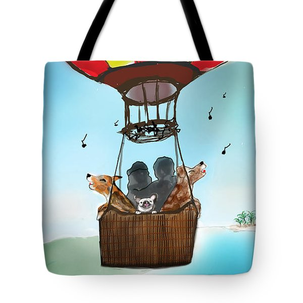 3 Dogs Singing In A Hot Air Balloon Tote Bag