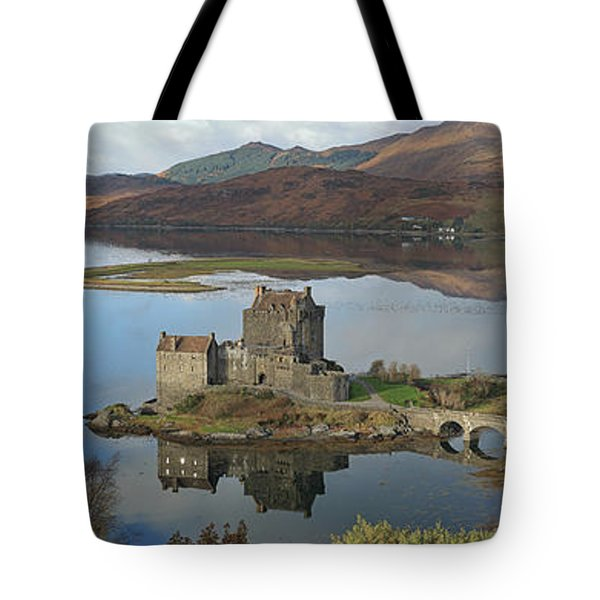 Tote Bag featuring the photograph Eilean Donan Castle - Panorama by Maria Gaellman