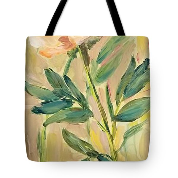 Tote Bag featuring the painting 3 Flowers by Maria Langgle