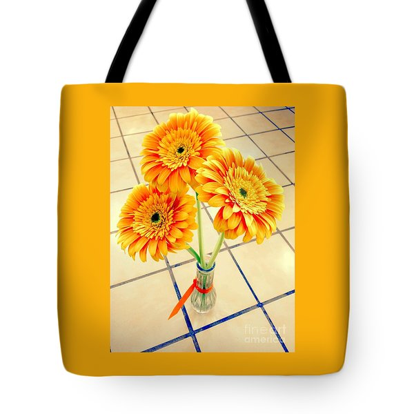 3 Golden Yellow Daisies Gift To My Beautiful Wife Suffering With No Hair Suffering Frombreast Cancer Tote Bag by Richard W Linford