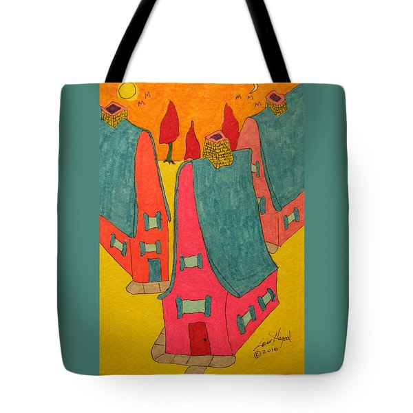 3 Homes With Three Red Trees Tote Bag