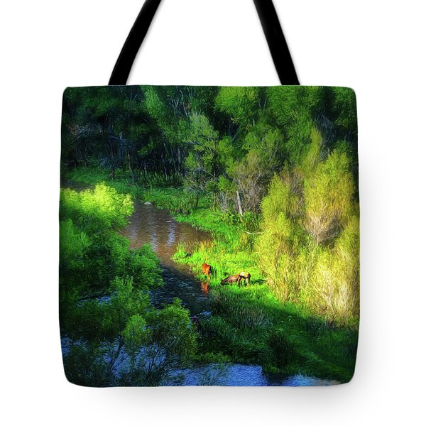3 Horses Grazing On The Bank Of The Verde River Tote Bag