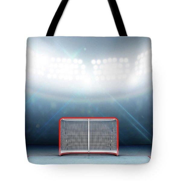 Ice Hockey Goals In Stadium Tote Bag
