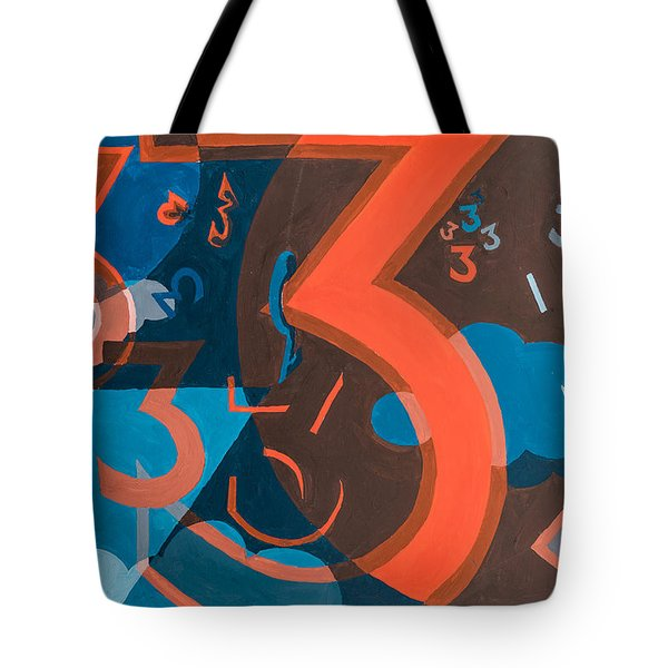 3 In Blue And Orange Tote Bag