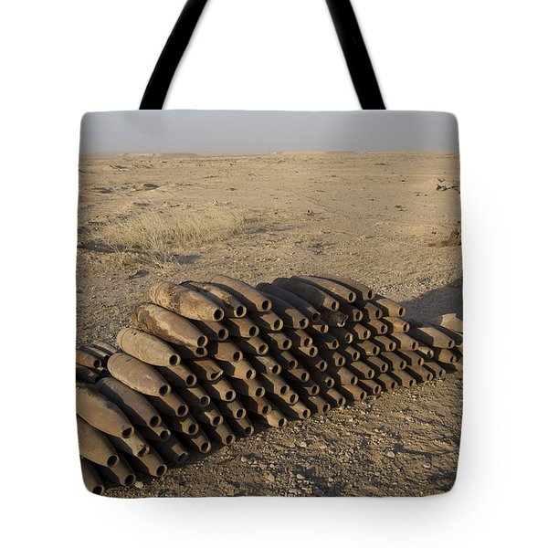 Inert Artillery Shells Are Stacked Tote Bag by Terry Moore