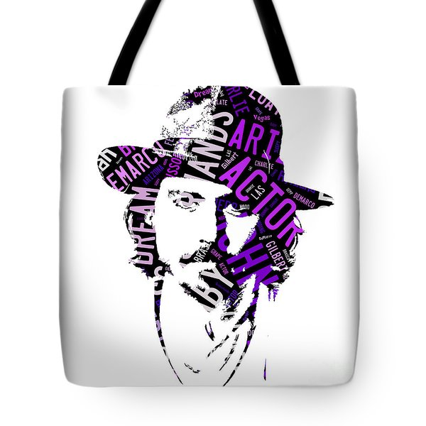 Johnny Depp Movie Titles Tote Bag by Marvin Blaine