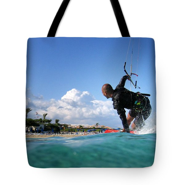 Kitesurfing Tote Bag by Stylianos Kleanthous
