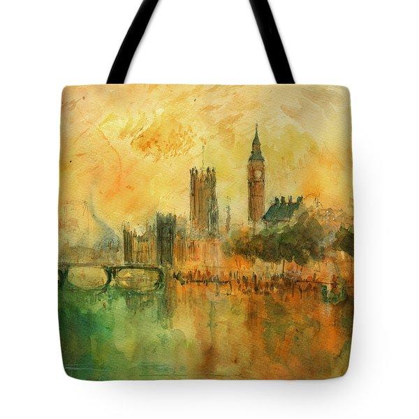London Watercolor Painting Tote Bag