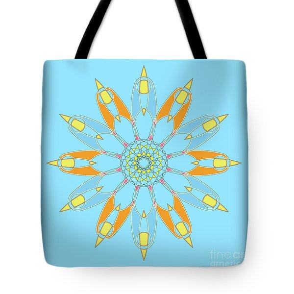 Mandala Cyan And Orange, Star, Abstract Star, Birthday Gift Tote Bag