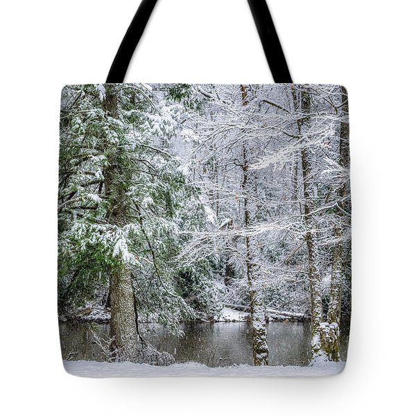 March Snow Along Cranberry River Tote Bag