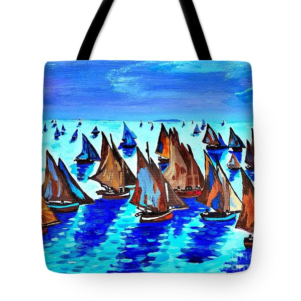 Monet Fishing Boats Calm Seas Tote Bag