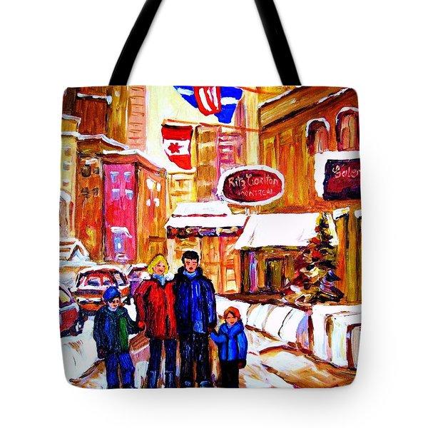 Montreal Street In Winter Tote Bag by Carole Spandau