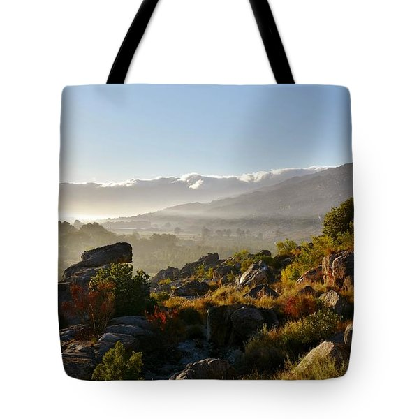 morning fog over Ceres Tote Bag