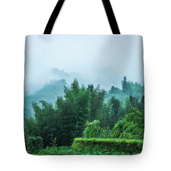 Mountains Scenery In The Mist Tote Bag