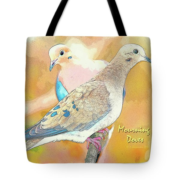 Tote Bag featuring the digital art Mourning Dove Pair  by A Gurmankin
