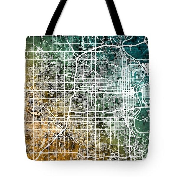 Omaha Nebraska City Map Tote Bag