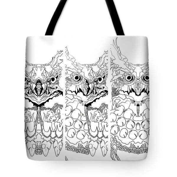 Tote Bag featuring the painting 3 Owl Sketch  by Amy Sorrell