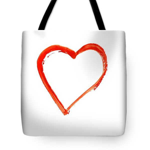 Tote Bag featuring the drawing Painted Heart - Symbol Of Love by Michal Boubin