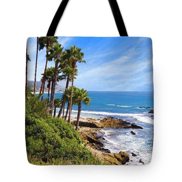 Palms And Seashore, California Coast Tote Bag