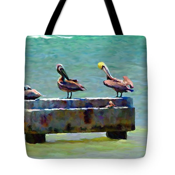 Tote Bag featuring the painting 3 Pelicans by David  Van Hulst