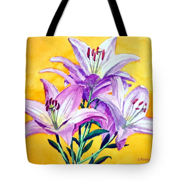 3 Pink Lilies Tote Bag by Dennis Clark