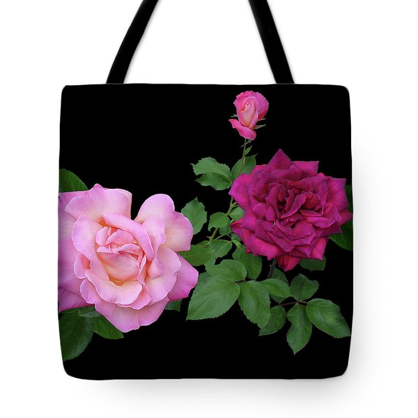 3 Pink Roses Cutout Tote Bag by Shirley Heyn