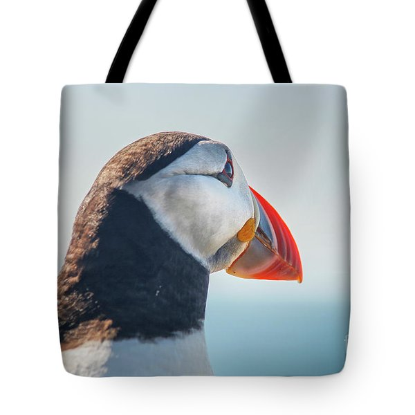 Tote Bag featuring the photograph Puffin In Close Up by Patricia Hofmeester