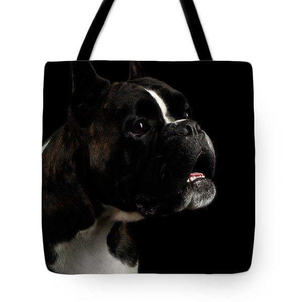 Purebred Boxer Dog Isolated On Black Background Tote Bag