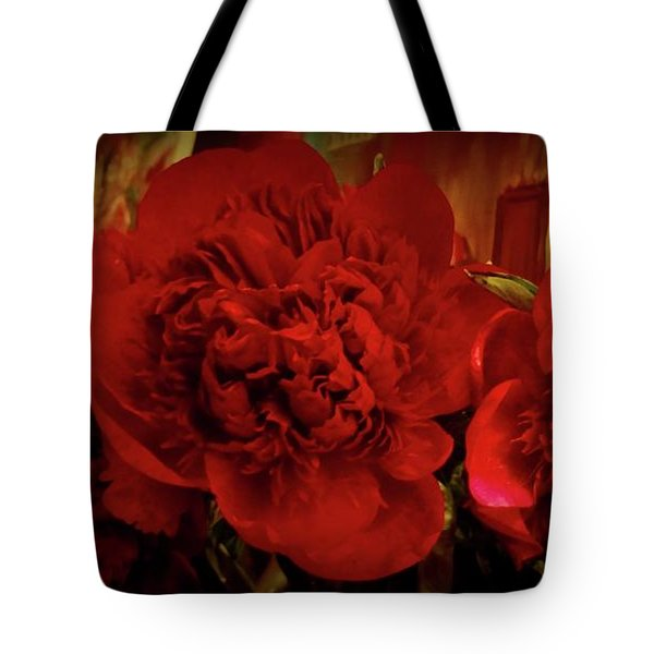Red Peony Tote Bag