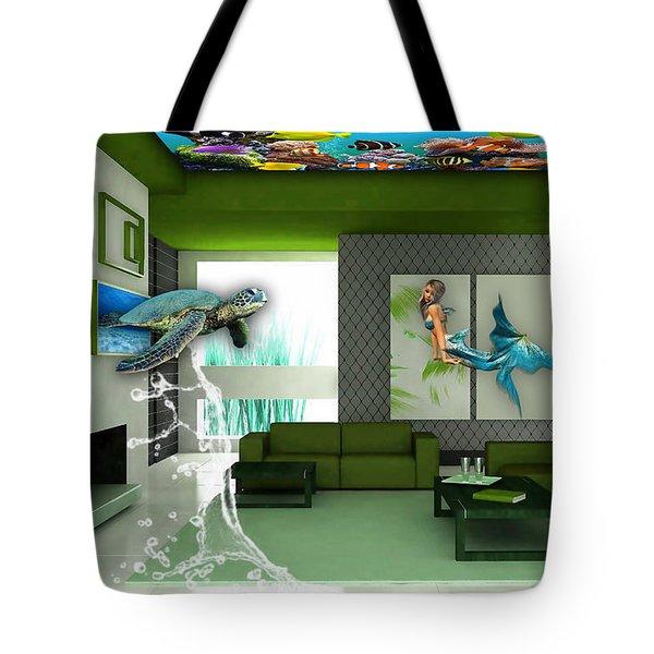 Rooftop Saltwater Fish Tank Art Tote Bag