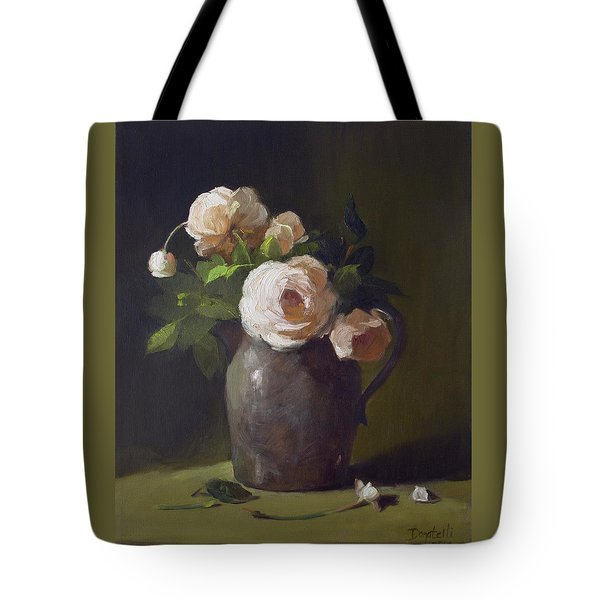 3 Roses In Silver Pitcher Tote Bag