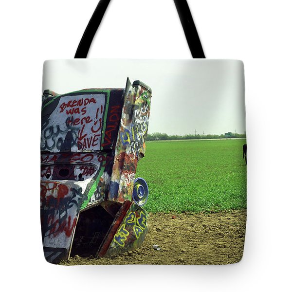 Route 66 - Cadillac Ranch Tote Bag by Frank Romeo