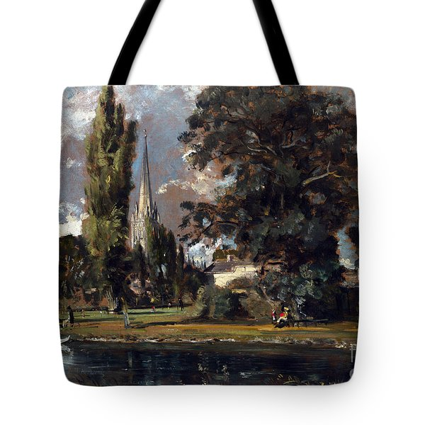 Salisbury Cathedral And Leadenhall From The River Avon Tote Bag