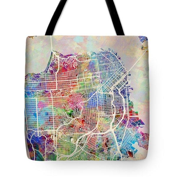 San Francisco City Street Map Tote Bag