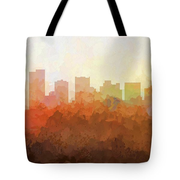 Tote Bag featuring the digital art Scottsdale Arizona Skyline by Marlene Watson