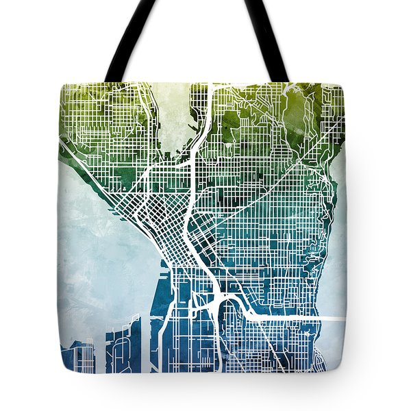Seattle Washington Street Map Tote Bag by Michael Tompsett