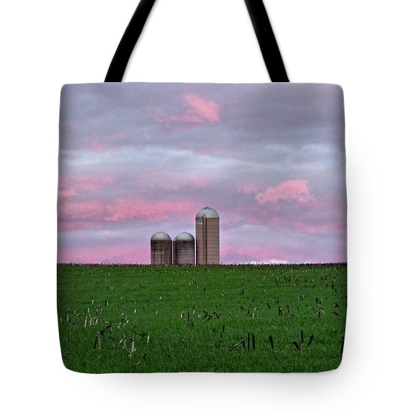 Tote Bag featuring the photograph 3 Silos by Robert Geary