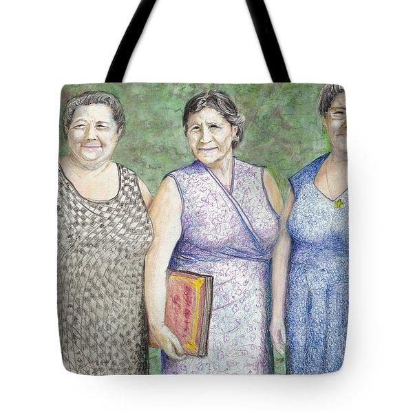 Tote Bag featuring the drawing 3 Sisters by Albert Puskaric