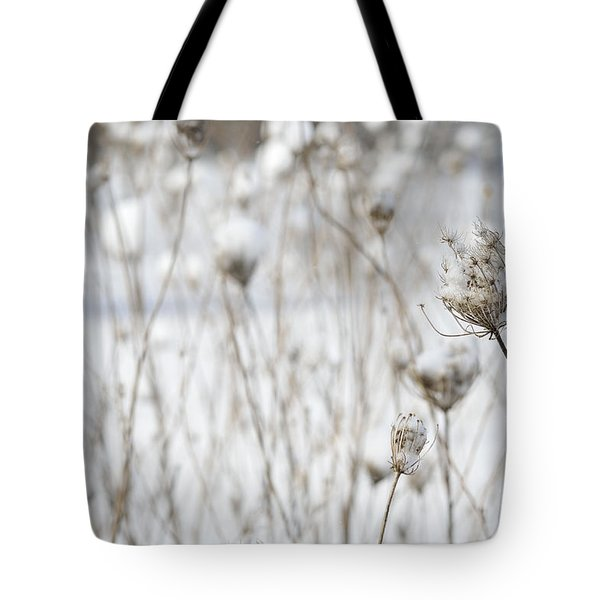 Snow Covered Queen Anne's Lace Tote Bag by Birgit Tyrrell