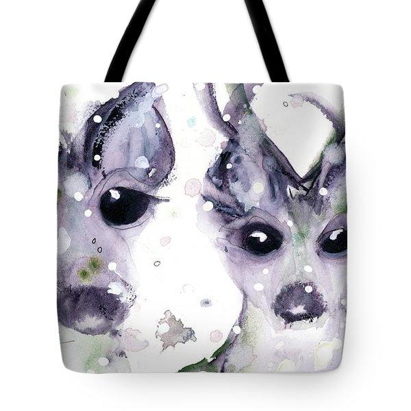 Tote Bag featuring the painting 3 Snowy Deer by Dawn Derman