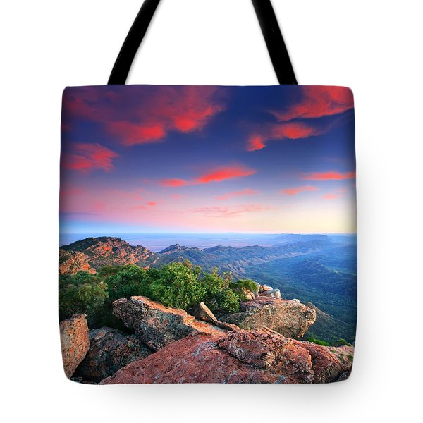 St Mary Peak Sunrise Tote Bag by Bill  Robinson