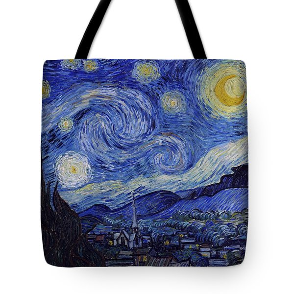 Tote Bag featuring the painting Starry Night by Van Gogh